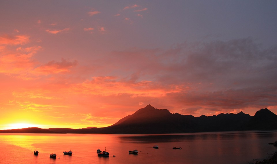 Sunset over Loch Scavaig and the Cuillins from Elgol, Skye