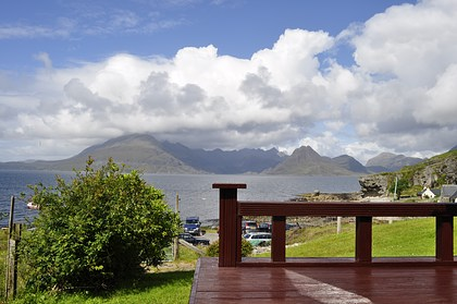 Pier House Self Catering in Elgol - view of Cuillins from the decking area